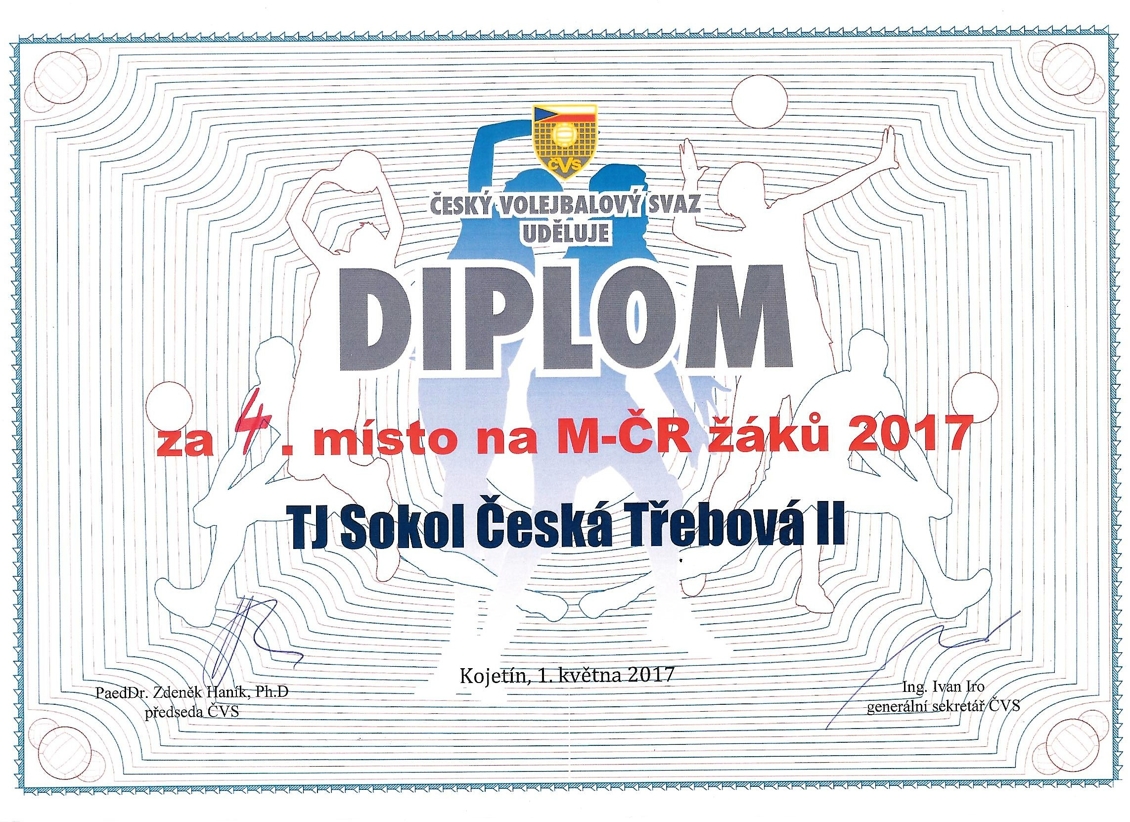 Diplom za 4. místo MČR